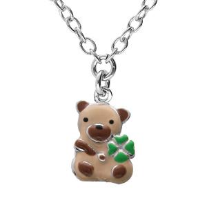 Collier en argent rhodié chaîne avec pendentif ourson et motif infini 35+5cm - Vue 1