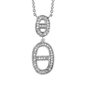 Collier en argent rhodié chaîne avec pendentif 2 ovales avec barre au centre en oxydes blancs sertis - longueur 40cm + 4cm de rallonge - Vue 1