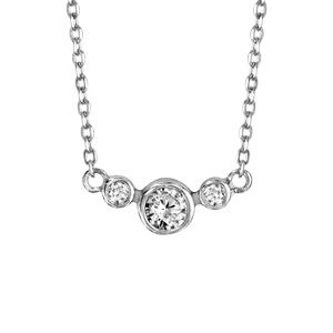 Collier en argent rhodié chaîne avec pendentif 3 oxydes blancs sertis clos, 2 petits et 1 gros au milieu - longueur 42cm + 5cm de rallonge - Vue 1