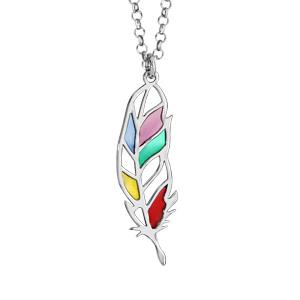 Collier en argent rhodié chaîne avec pendentif plume multicolore et ajourée - longueur 42cm + 3cm de rallonge - Vue 1