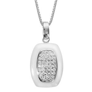 Collier en argent rhodié chaîne avec pendentif rectangulaire céramique blanche et oxydes sertis 42+3cm - Vue 1