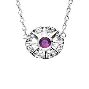 Collier en argent rhodié chaîne avec pendentif rond avec motif et Amethyste véritable 42cm - Vue 1