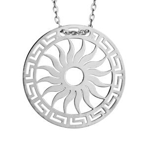 Collier en argent rhodié chaîne avec pendentif rond avec motif soleil découpé - longueur 40cm + 5cm de rallonge - Vue 1