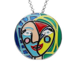 Collier en argent rhodié chaîne avec pendentif rond avec motifs abstraits colorés longueur 40+4cm - Vue 1