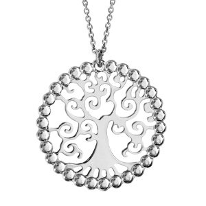 collier en argent rhodi cha ne avec pendentif rond en boules successives avec arbre de vie l. Black Bedroom Furniture Sets. Home Design Ideas