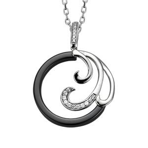 Collier en argent rhodié chaîne avec pendentif rond en céramique noire avec 3 vagues dont 1 ornée d\'oxydes blancs sertis - longueur 42cm + 3cm de rallonge - Vue 1