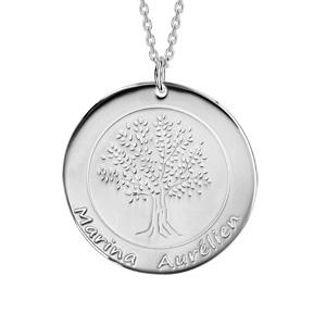 Collier en argent rhodié chaîne avec pendentif rond vierge prénom à graver longueur 40+5cm - Vue 1