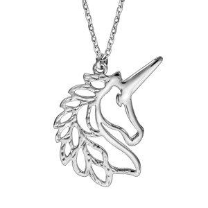 Collier en argent rhodié chaîne avec pendentif tête de licorne 42+3cm - Vue 1