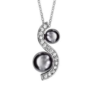 Collier en argent rhodié chaîne avec pendentif vague d'oxydes blancs sertis avec 1 perle grise synthétique dans chaque creux - longueur 40cm + 4cm de rallonge