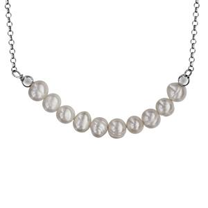 Collier En Argent Rhodie Chaine Avec Pendentif 1 Vague En Perles De