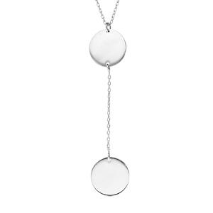 Collier en argent rhodié chaîne forme Y avec 2 médailles prénom à graver rondes 42+3cm - Vue 1