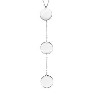 Collier en argent rhodié chaîne forme Y avec 3 médailles rondes 42+3cm - Vue 1
