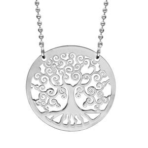 collier en argent rhodi cha ne maille boules avec pendentif cercle avec arbre de vie l. Black Bedroom Furniture Sets. Home Design Ideas