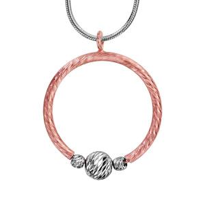 1e789bd0928de Collier en argent rhodié chaîne tube avec pendentif anneau en PVD rose  agrémenté de 3 boules grises ciselées, 1 grosse au milieu et 1 petite de  chaque côté ...
