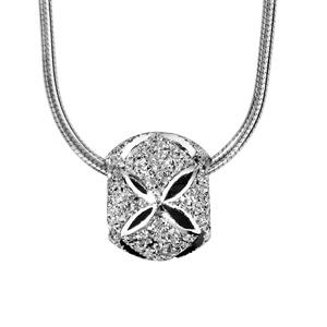 Collier en argent rhodié chaîne tube ronde avec charms boule granitée et diamantée en croix - longueur 40cm + 3cm de rallonge