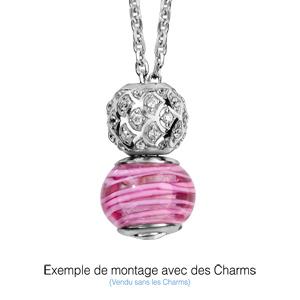 Collier en argent rhodié charms chaîne simple - longueur 47cm + 11cm de rallonge - Vue 1
