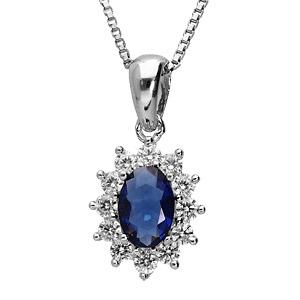 Collier en argent rhodié collection joaillerie chaîne avec pendentif ovale et gros oxyde bleu au centre orné de petits oxydes blancs autour formant une marguerite - Vue 1