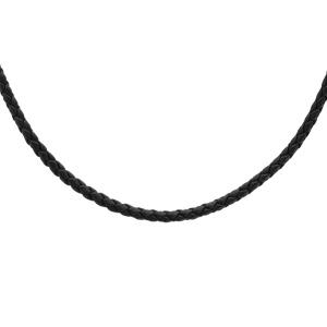 Collier en argent rhodié cordon en cuir tressé noir - longueur 55cm + 5cm de rallonge - Vue 1