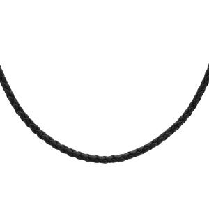 Collier en argent rhodié cordon en cuir tressé noir - longueur 60cm + 5cm de rallonge - Vue 1