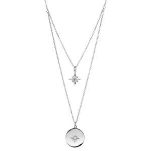 Collier en argent rhodié double rang avec pendentif etoile et pastille oxyde blanc longueur 40+4cm - Vue 1