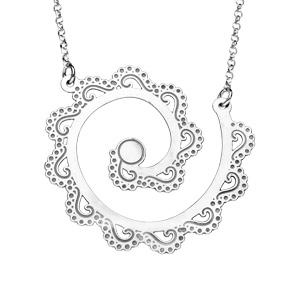 Collier en argent rhodié ethnique motif spirale avec vagues ajourées 40+5cm - Vue 1