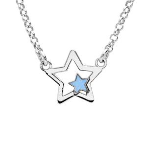 Collier en argent rhodié étoile avec petite étoile bleue 35+5cm - Vue 1