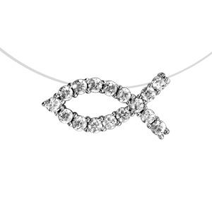 Collier en argent rhodié fil en nylon avec pendentif poisson chrétien en oxydes  blancs 591d0a2f17ef