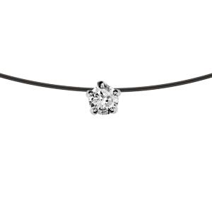 Collier en argent rhodié fil nylon noir avec pendentif solitaire oxyde blanc 5mm longueur 39cm - Vue 1