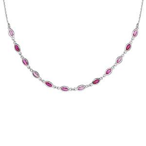 Collier en argent rhodié maillons ornés d\'oxydes degradés de rose en forme de navette longueur 38+7cm - Vue 1