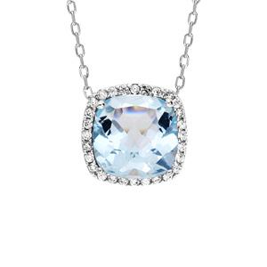 Collier en argent rhodié massif collection joaillerie chaîne avec pendentif gros carré Topaze bleue contour oxydes blancs sertis 40+5cm - Vue 1