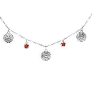Collier en argent rhodié pampilles antiques et perles couleur corail 40+4cm - Vue 1