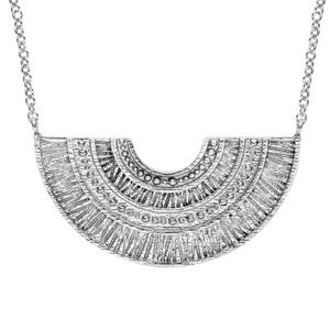Collier en argent rhodié pendentif ethnique éventail 40+4cm - Vue 1