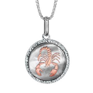 Collier en argent rhodié pendentif rond nacre blanche véritable zodiaque scorpion dorure rose 42cm + 3cm - Vue 1