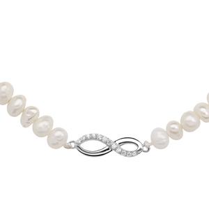 Collier en argent rhodié perles d\'eau douce avec pendentif infini oxydes blancs sertis longueur 43+4cm - Vue 1