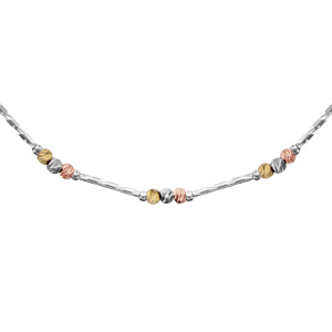 Collier en argent rhodié tube strié avec 3 boules diamantées, 1 dorée rose, 1 dorée jaune et l'autre grise - longueur 42cm + 3cm de rallonge