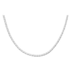 Collier en cuir blanc tressé et fermoir en argent rhodié pour charms - longueur 42cm + 3cm de rallonge - Vue 1