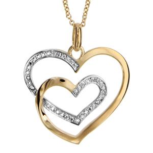 Collier en palqué or chaîne avec pendentif 2 coeurs faits avec 1 seul brin et ornés d\'oxydes blancs - longueur 42cm +3cm de rallonge - Vue 1