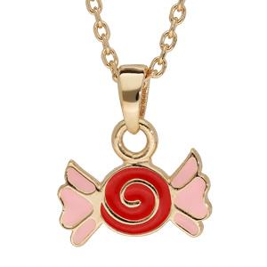 Collier en plaqué or avec pendentif bonbon rouge et rose 38cm - Vue 1