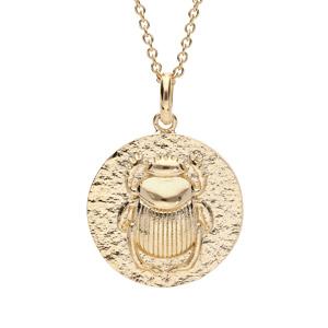 Collier en plaqué or avec Pendentif ethnique motif antique scarabée 40+4cm - Vue 1