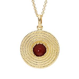 Collier en plaqué or avec Pendentif ethnique rond avec pierre rouge 40+4cm - Vue 1