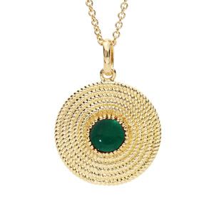 Collier en plaqué or avec Pendentif ethnique rond avec pierre verte 40+4cm - Vue 1