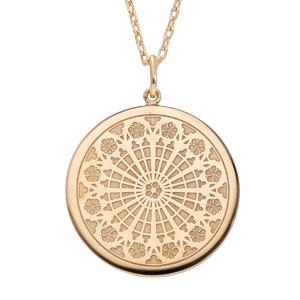 Collier en plaqué or avec Pendentif rosace de strasbourg 40+5cm - Vue 1