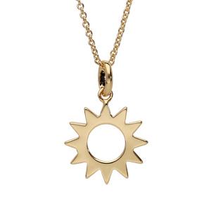 Collier en plaqué or avec pendentif soleil ajouré 40+4cm - Vue 1
