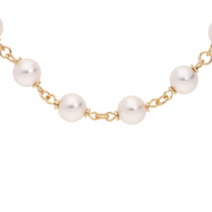 Collier en plaqué or avec perles blanches 42+7cm - Vue 1