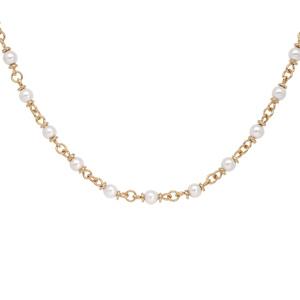 Collier en plaqué or avec perles blanches de synthése 40+5cm - Vue 1