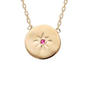 Collier en plaqué or chaîne avec médaille étoile avec oxyde rouge 42cm - Vue 1