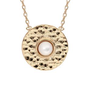 Collier en plaqué or chaîne avec médaillon rond martelé et coeur Nacre véritable 42cm - Vue 1