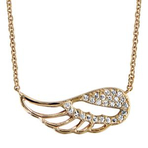 Collier en plaqué or chaîne avec pendentif aile d\'ange ajourée et ornée d\'oxydes blancs sertis - longueur 40cm + 4cm de rallonge - Vue 1