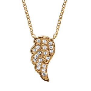 Collier en plaqué or chaîne avec pendentif 1 aile ornée d'oxydes blancs sertis - longueur 40cm + 4cm de rallonge