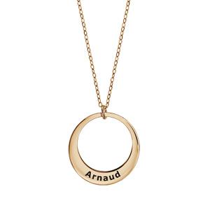 Collier en plaqué or chaîne avec pendentif 1 anneau à graver - longueur 40cm + 5cm de rallonge - Vue 1